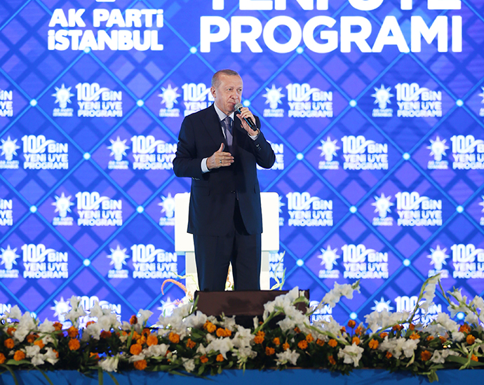President Erdogan addressed supporters at a 100,000 new members program at the AK Party in Istanbul